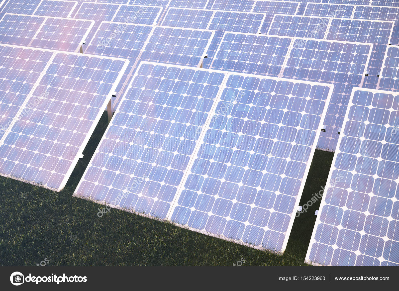 3 D イラスト太陽エネルギー コンセプト太陽光発電パネルに夕焼け空の