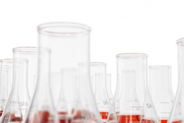 Science chemistry concept. Laboratory test tubes and flasks with red liquid, 3d rendering