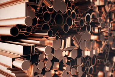 Cylindrical copper steel profiles, hexagonal copper steel profiles, square copper steel profiles. Different copper steel products, 3D illustration