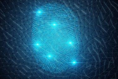 3D illustration Fingerprint scan provides security access with biometrics identification. Concept Fingerprint protection