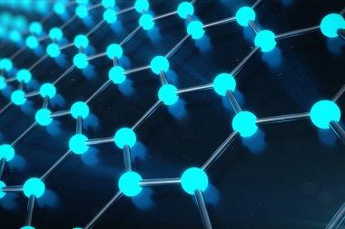 3D Rendering of Graphene atomic structure - nanotechnology background illustration.