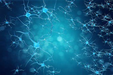 Conceptual illustration of neuron cells with glowing link knots. Synapse and Neuron cells sending electrical chemical signals. Neuron of Interconnected neurons with electrical pulses, 3D illustration