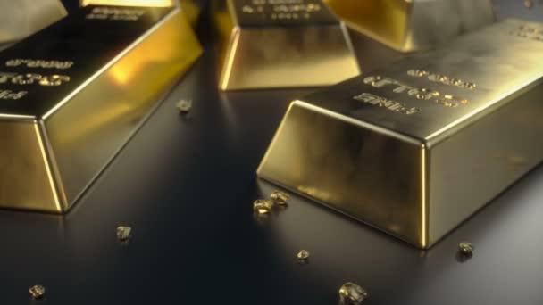 Jemné zlaté cihličky 1000 gramů na podlaze s roztroušené kusy zlata. Pojem bohatství