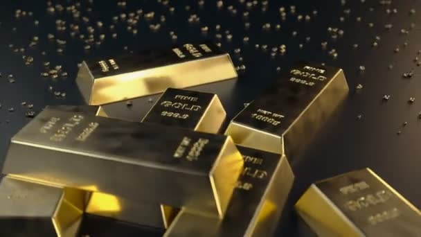 Fine Gold bars 1000 grams on the floor with scattered pieces of gold. Loopable animation. Concept of wealth