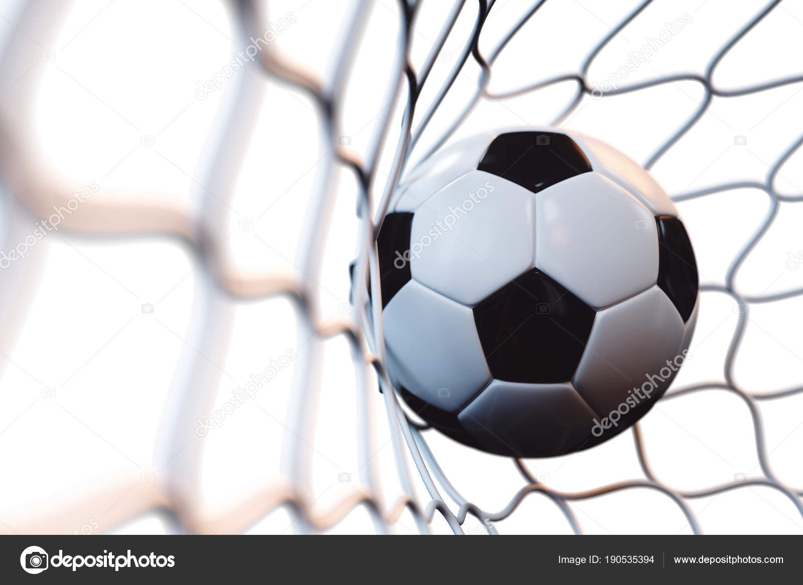 3d rendering soccer ball in goal in motion. Soccer ball in net in motion  isolated on white background d060f5968effd