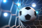 3d rendering soccer ball in goal in motion. Soccer ball in net in motion with spotlight or stadium light background. Success concept