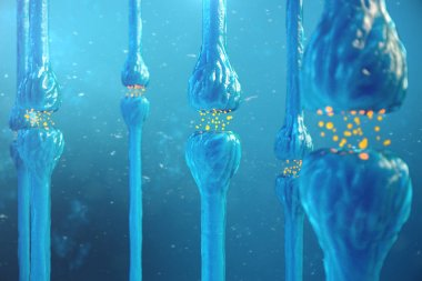 Synaptic transmission, human nervous system. Brain synapses. Transmission synapse, signals, impulses in the brain information transfer at the cellular or atomic level. 3D rendering