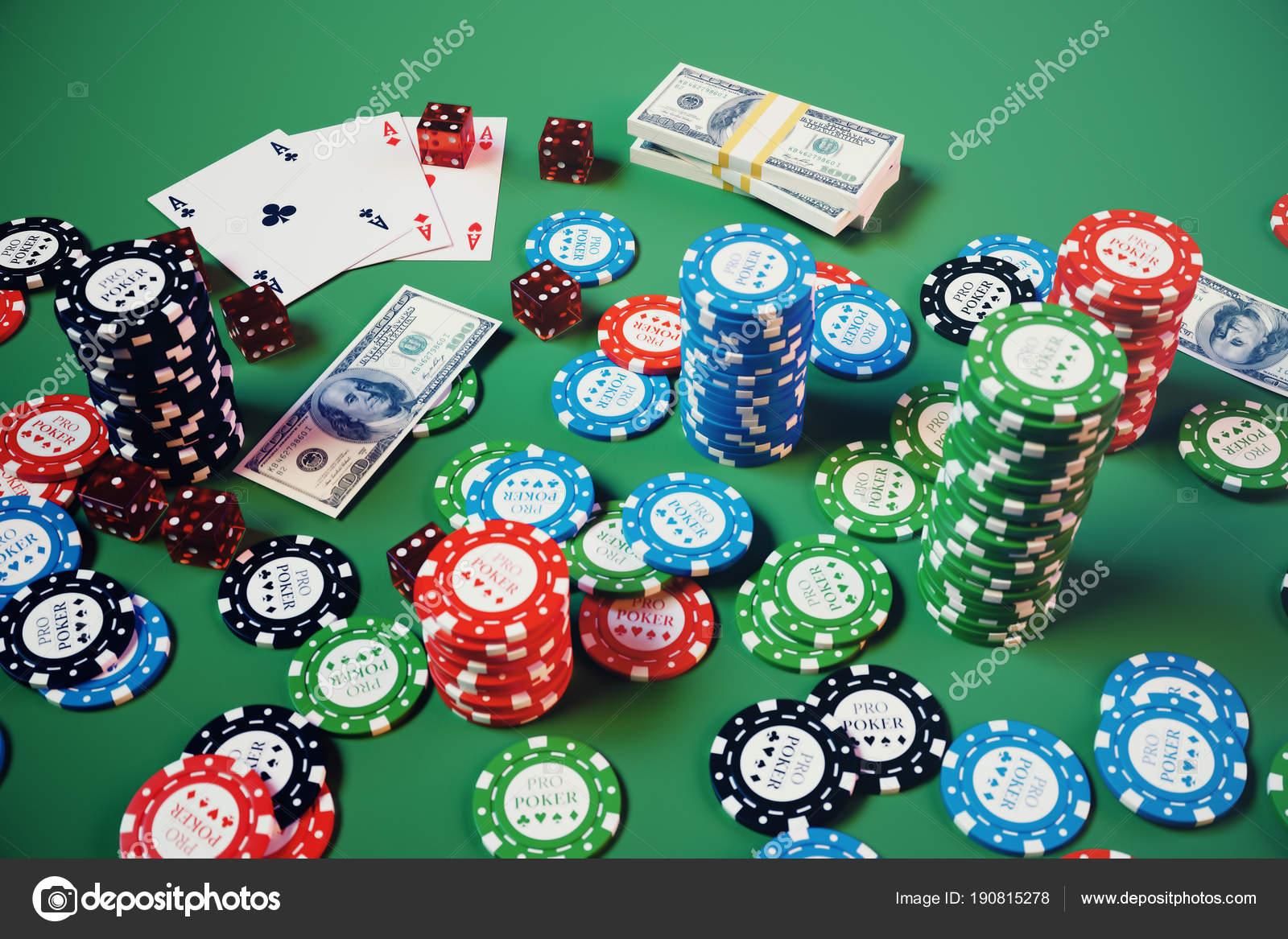 Juego Casino Ilustracion Fichas Jugando Las Cartas Poker Fichas