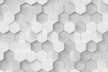 White geometric hexagonal abstract background. 3d rendering