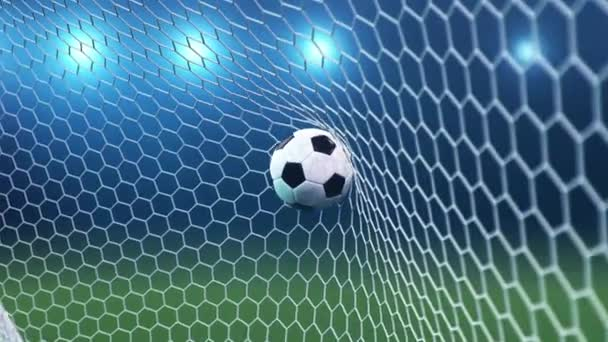 Soccer ball in goal net on beautiful sky background. Soccer ball flew into the goal.
