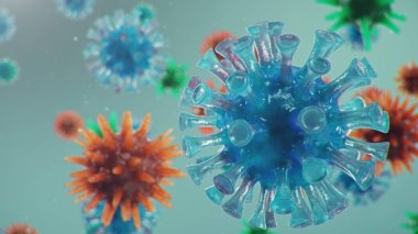 Coronavirus outbreak. Pathogen affecting the respiratory tract. COVID-19 infection. Concept of a pandemic, viral infection. Coronavirus inside a human. Viral infection. 3D illustration