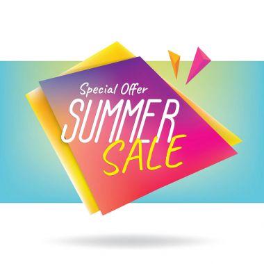 Summer Sale heading design colorful sharp shape for banner or po