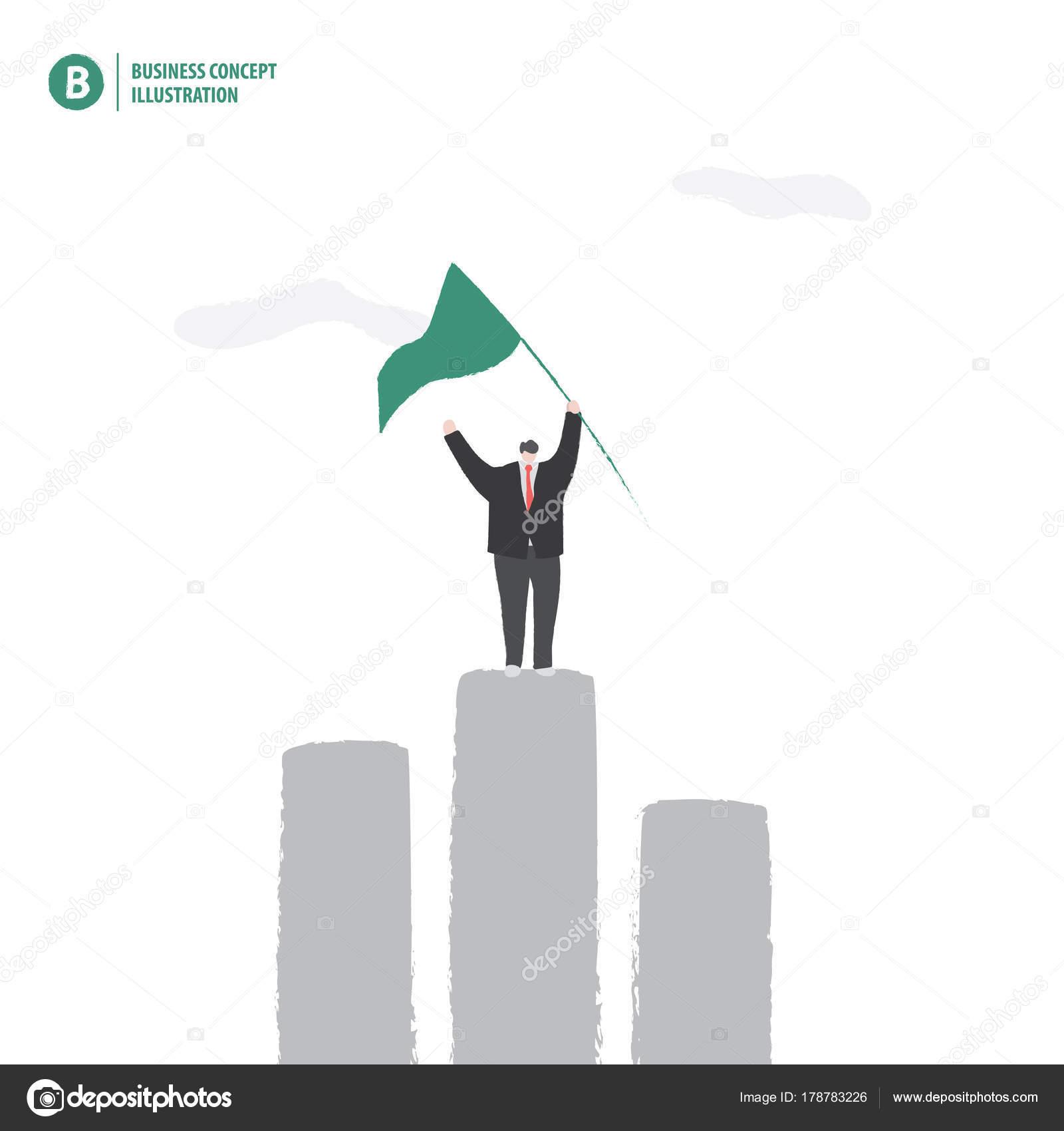depositphotos_178783226 stock illustration businessman holding flag on the businessman holding flag on the bar graph meaning success on whi