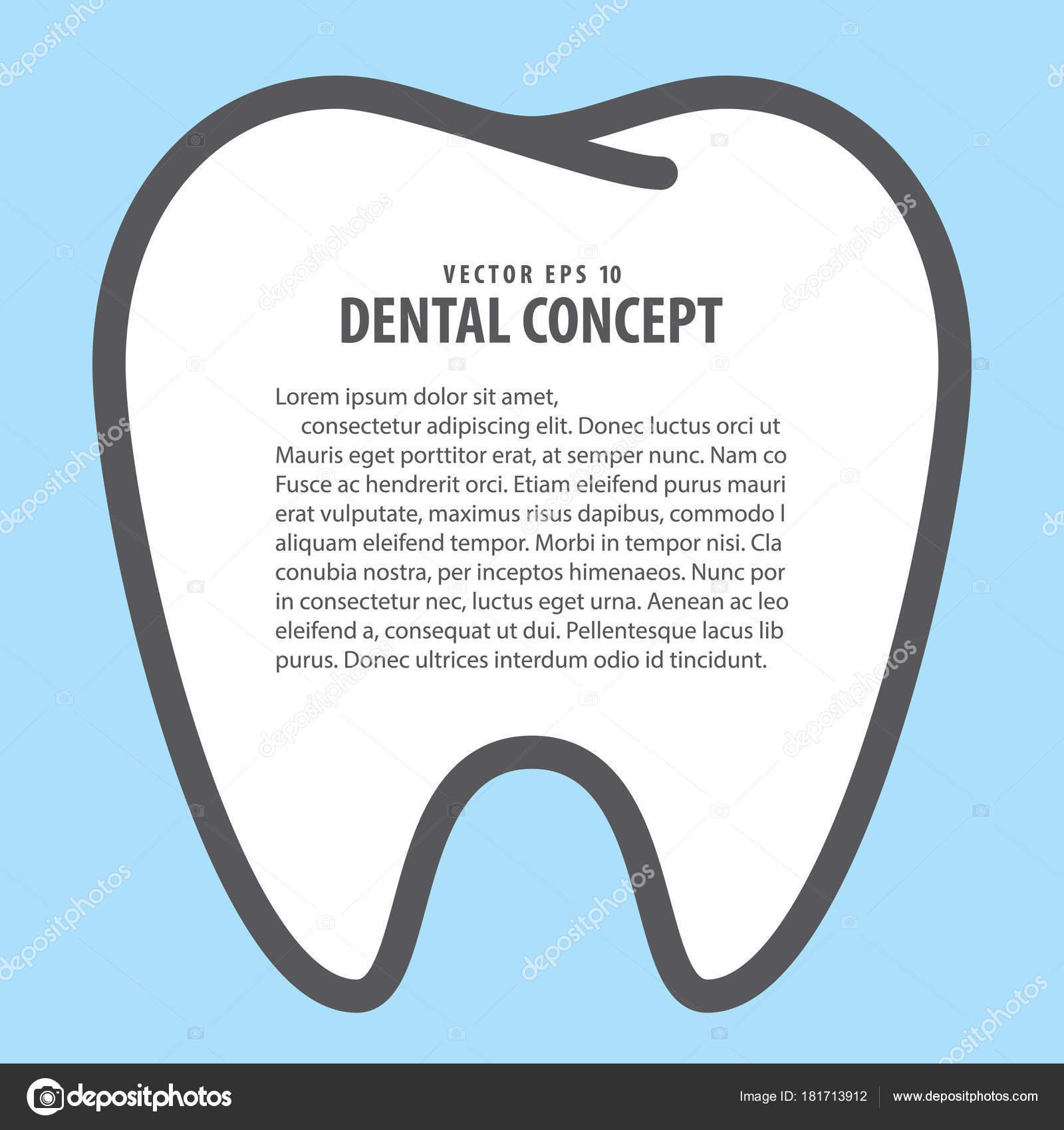 Estilo de dibujos animados de marco diseño del diente para ...