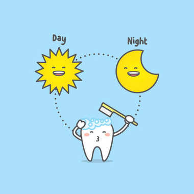 Brushing time day & night with tooth character, sun, moon, illus