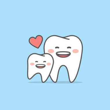 mom & kid tooth character illustration vector on blue background