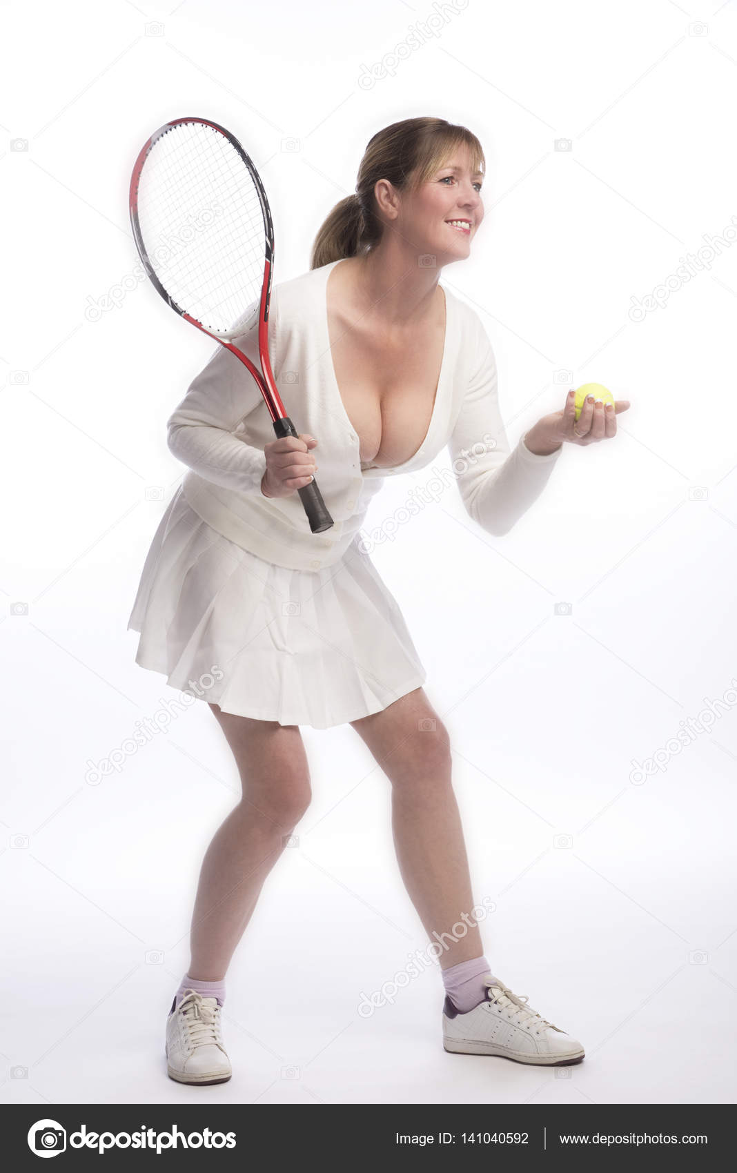 woman tennis player in a revealing shirt — stock photo © petertt