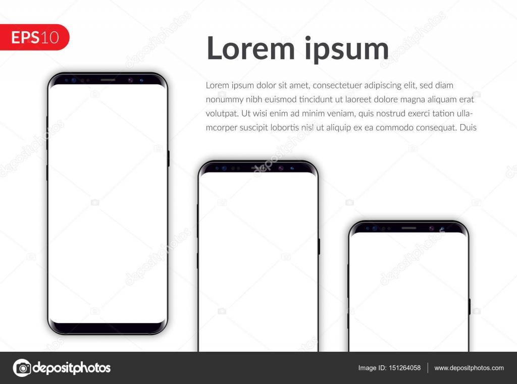 Telefono Smartphone Mobile Isolato Su Sfondo Bianco Template