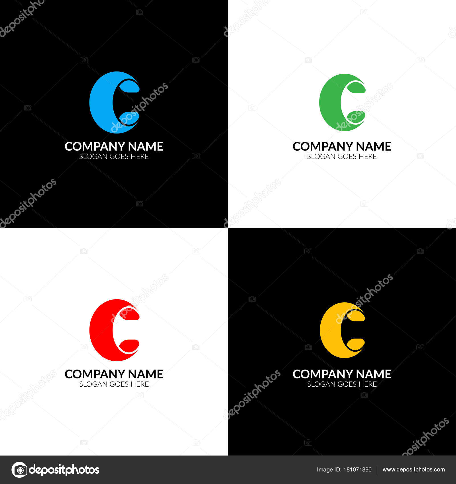 letter c logo, icon flat and vector design template. the bold letter