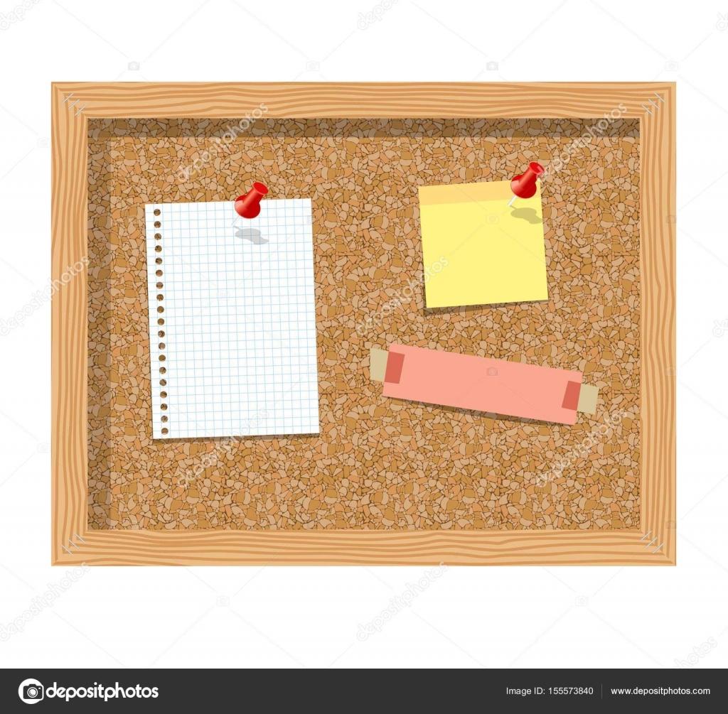 planche de li ge avec papier pingl le bloc notes feuilles r aliste vector illustration vector. Black Bedroom Furniture Sets. Home Design Ideas