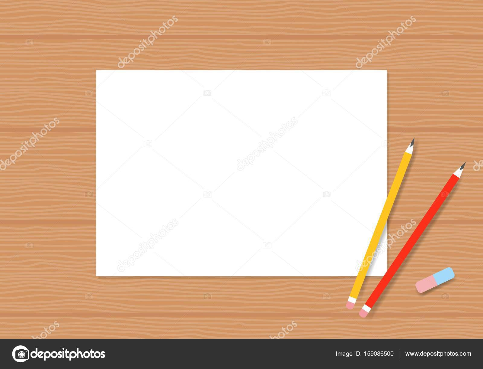Blank white paper with pencil on wood table album pages with