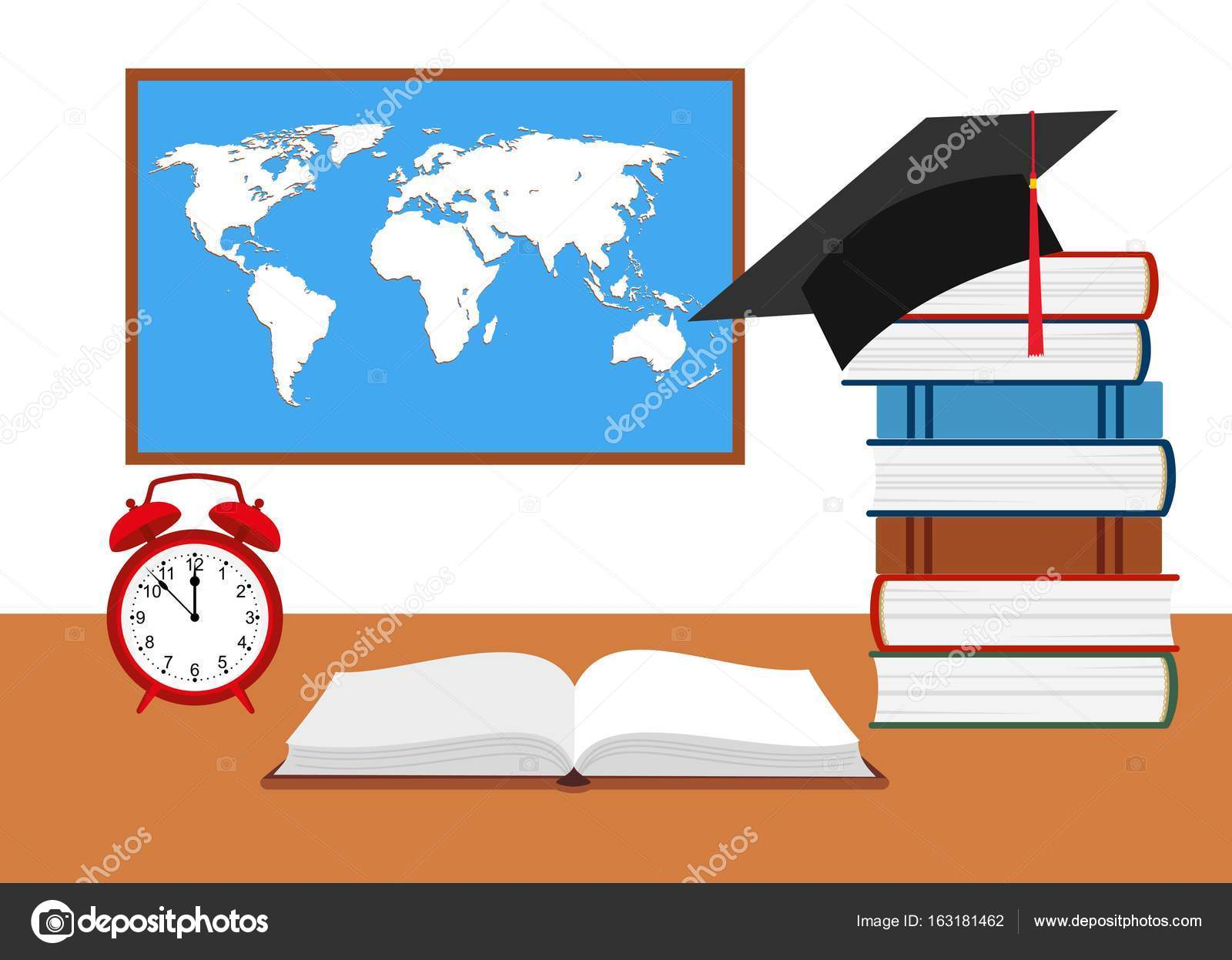 Desk with watch hat graduate and stack of books against the desk with watch hat graduate and stack of books against the background of the world map vector by alla16 gumiabroncs Gallery