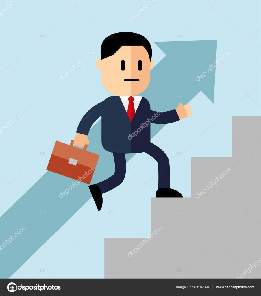 Go up concept, Career ladder, Businessman with suitcase climbing ... for Climbing Stairs To Success  177nar
