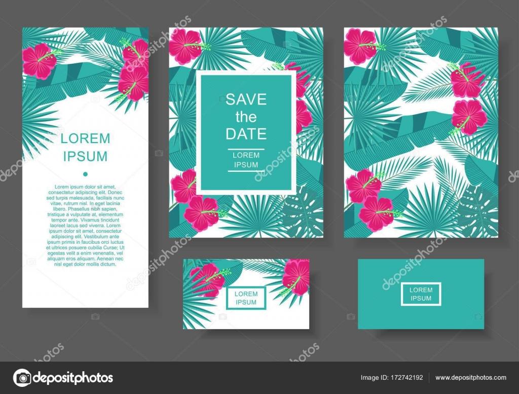 Modle De Feuilles Et Fleurs Tropicales Carte Visite Flyer