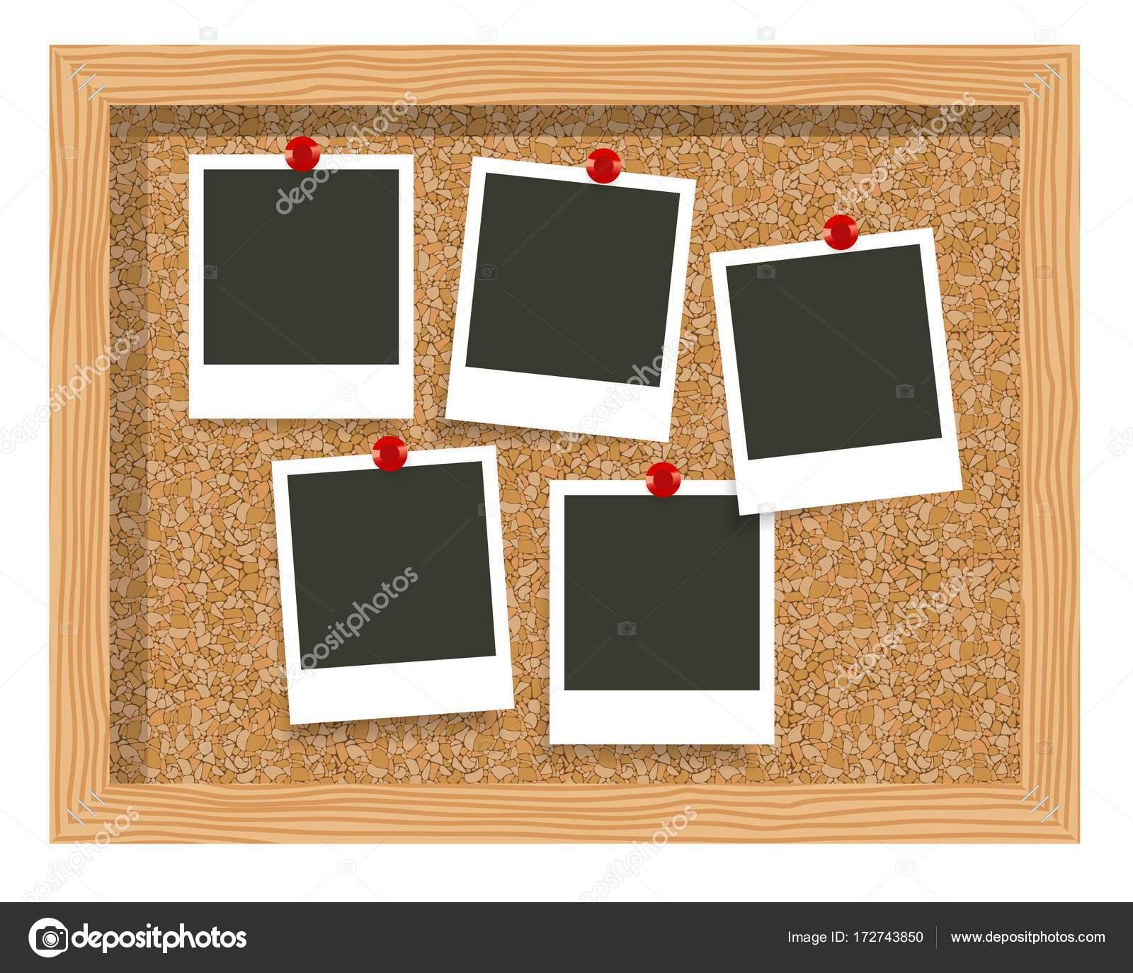 leere Rahmen Foto-Abzüge, Kork Pinnwand. Leere Sofortbild an einer ...