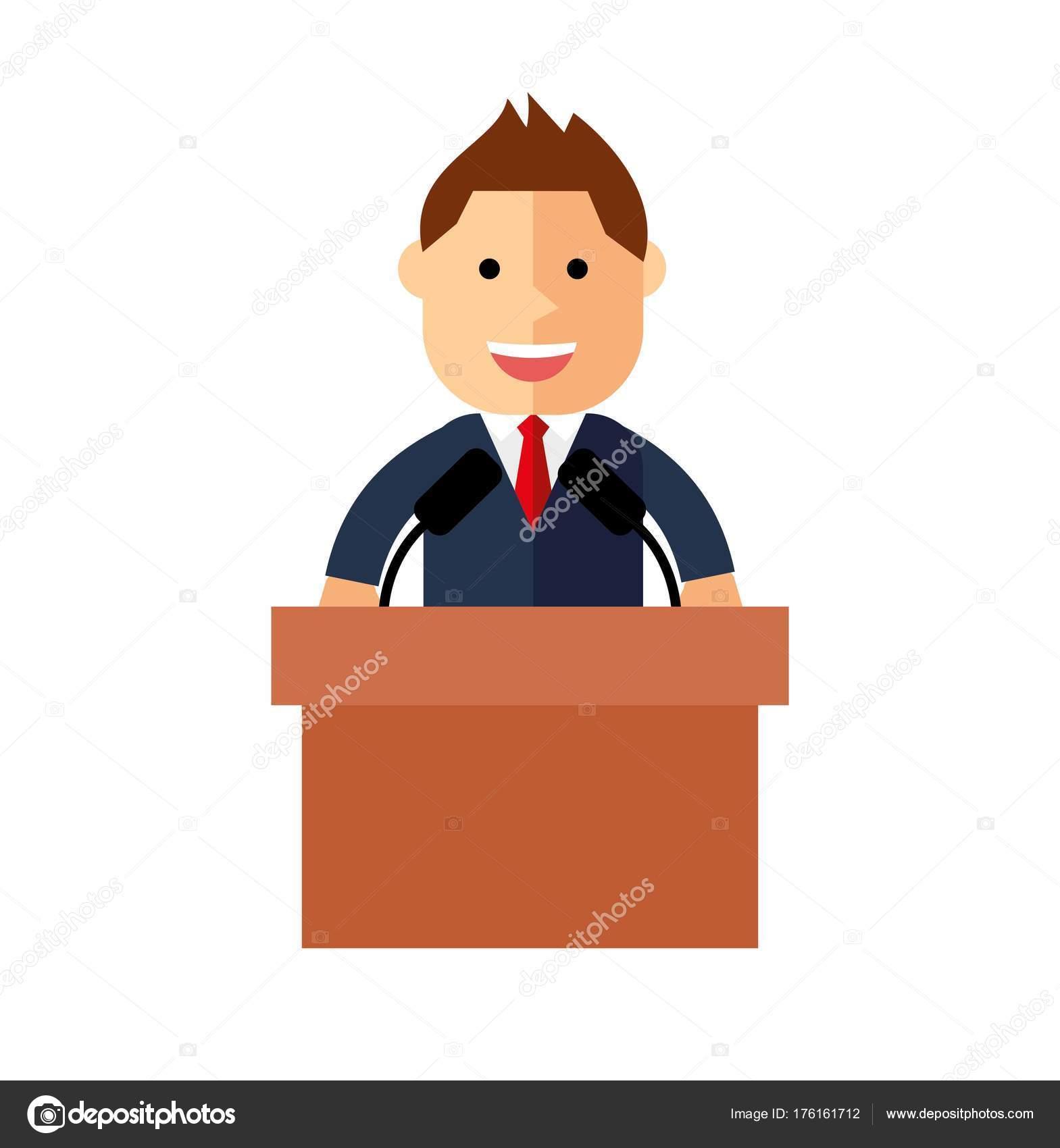 Orator Speaking Tribune Public Speaker Illustration Flat ...