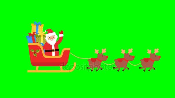 Szarvas hozott Mikulás egy szán, ajándékokkal. chroma key.footage