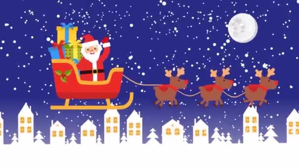 jeleni jsou přinesl Ježíšek na sáně s dárky. záběry