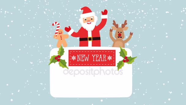 New year vector background santa claus deer gingerbread man place new m4hsunfo Images