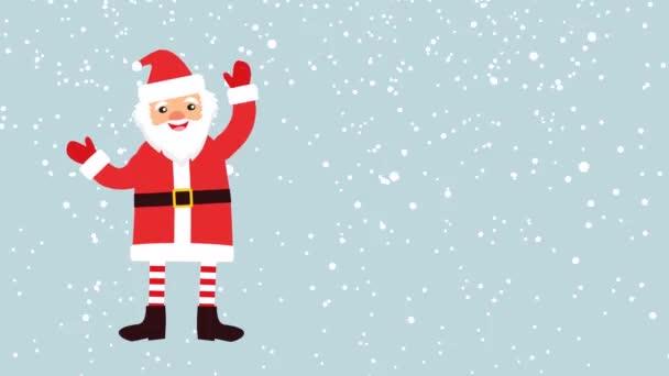 Kreslené Santa Claus na pozadí padajícího sněhu s prázdnou banner pro váš text. banner s prodej 50 %. záběry