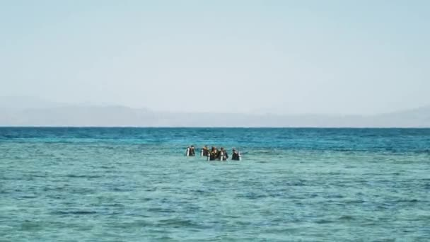 A group of scuba divers go diving in red sea, sunny day and clear water in Dahab, Egypt diving, snorkeling, 4k