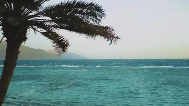 Kite surfing in beautiful clear water in Dahab Egypt. Exploring the blue water with mountains in the background and people windsurfing and kite surfing, 4k