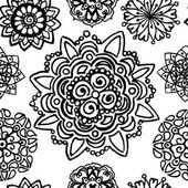 Fekete, fehér, fekete-fehér kör mandala doodle minta háttér textúra
