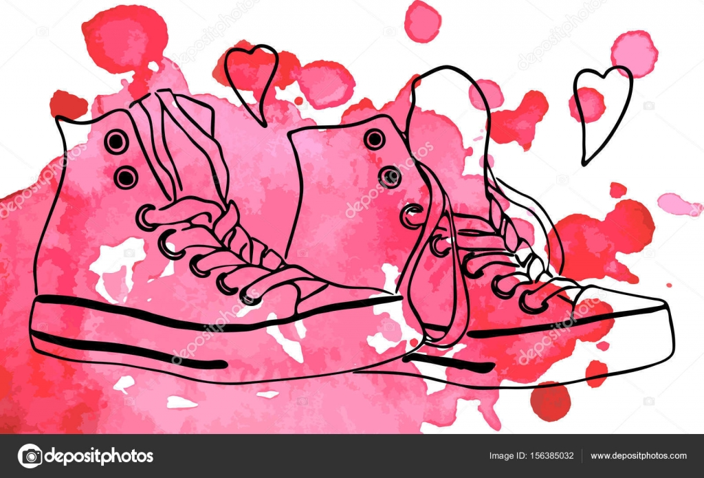 Clip Art Line Of Hearts : Sneakers shoes hearts love line art watercolor spot vector u stock