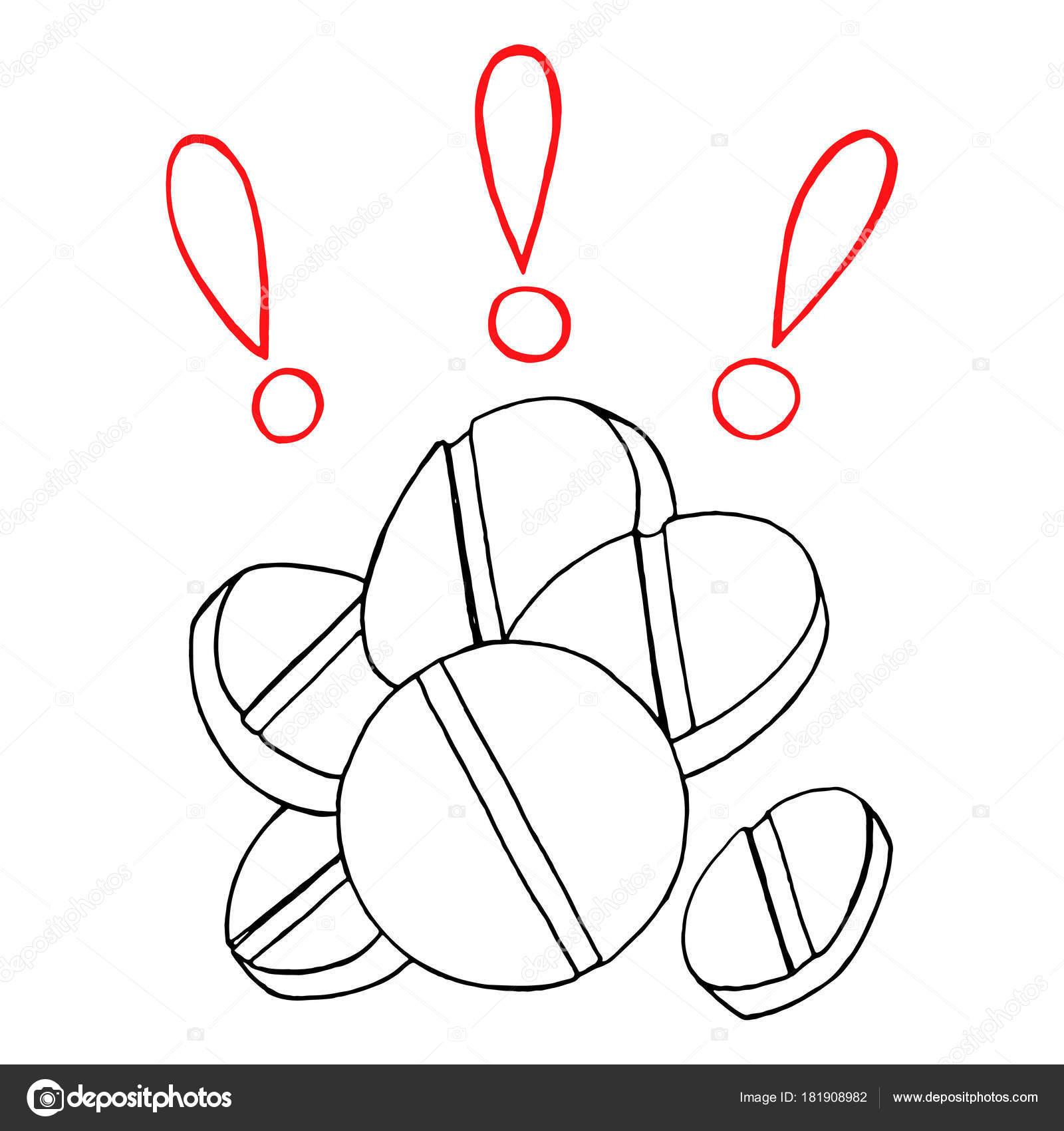 Tek Renkli Hapları Ilaçları ünlem Işareti El çizilmiş çizgiyi Sanat