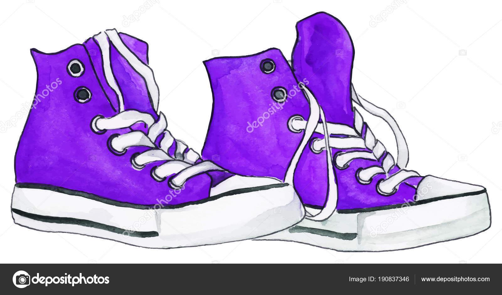 ChaussuresIsolierten Chaussures Paar Aquarell Lila Tennis Violett de 08wPnkO