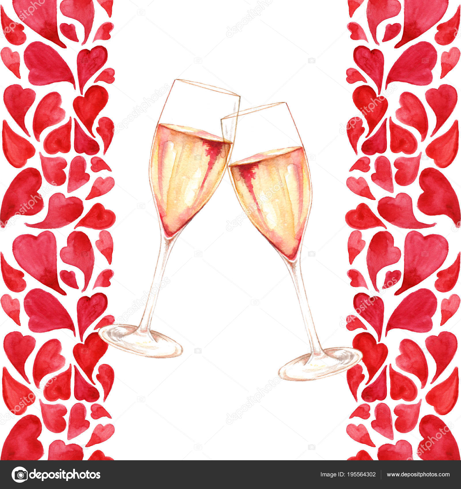 Watercolor two glasses of champagne wine alcohol heart love romantic ...
