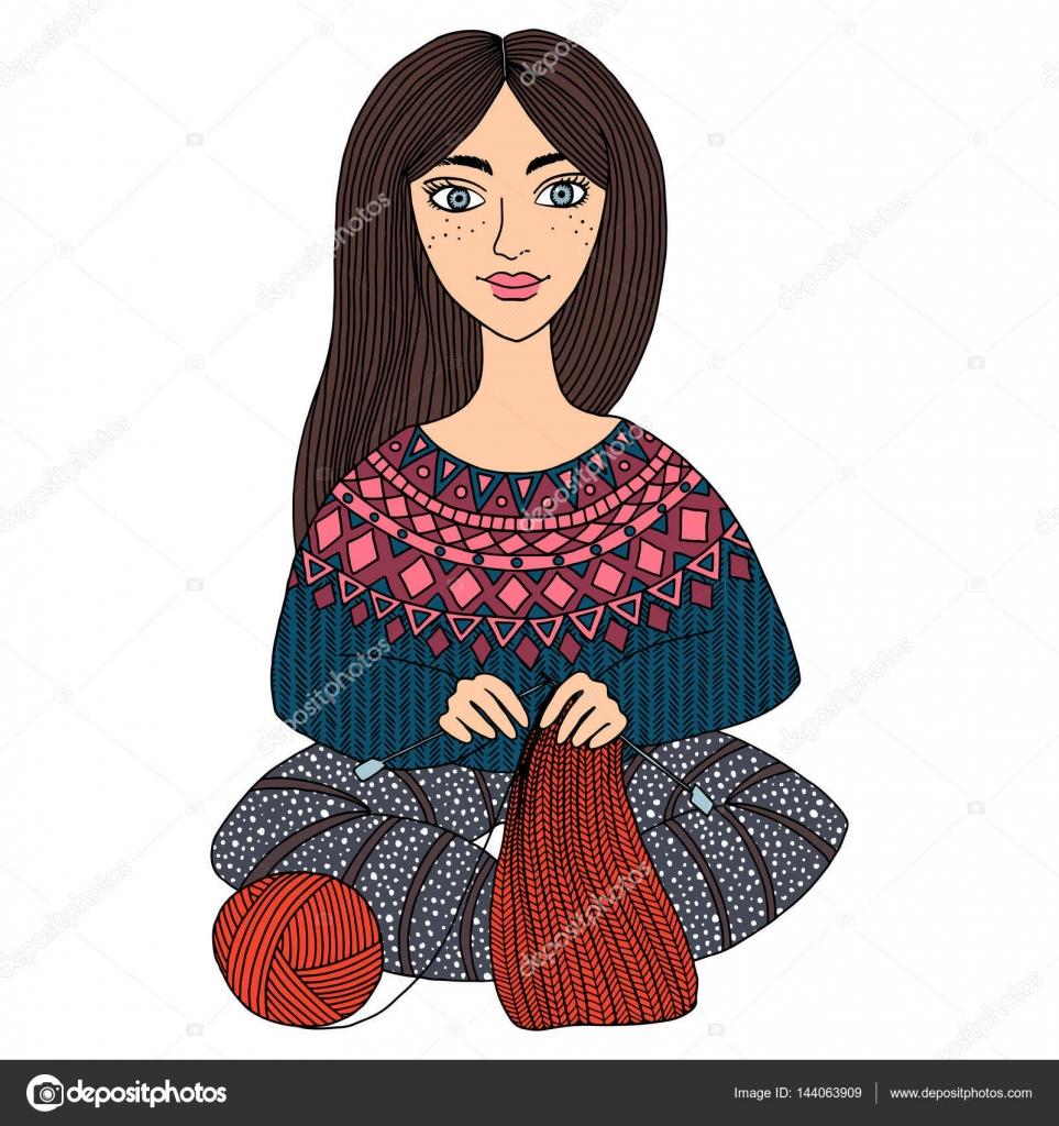 Hermosa chica teje bufanda caliente. Pasatiempos, hecho a mano ...