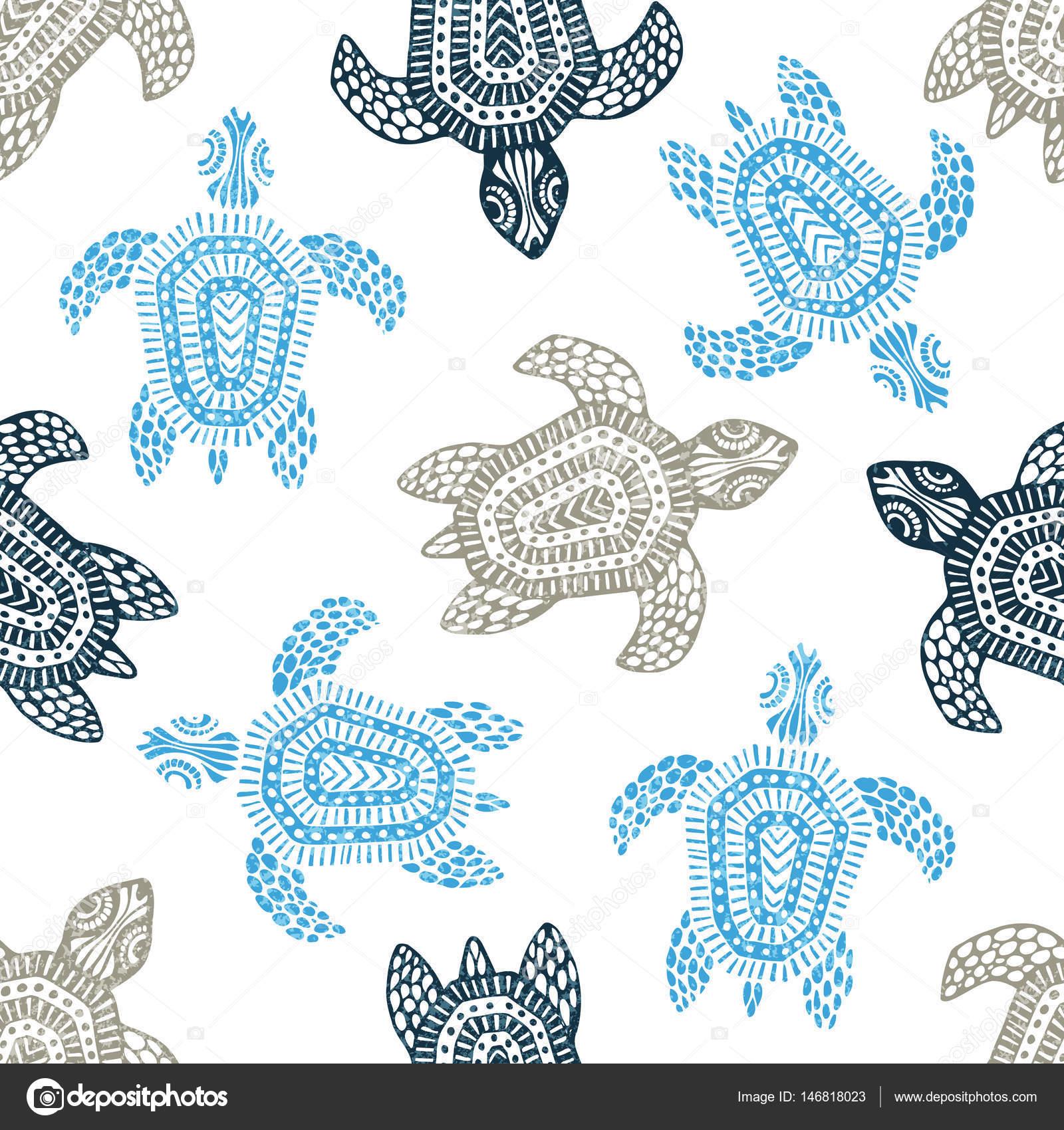 Schildkröten - nahtlose Muster. Blauen, grauen und weißen Farben ...