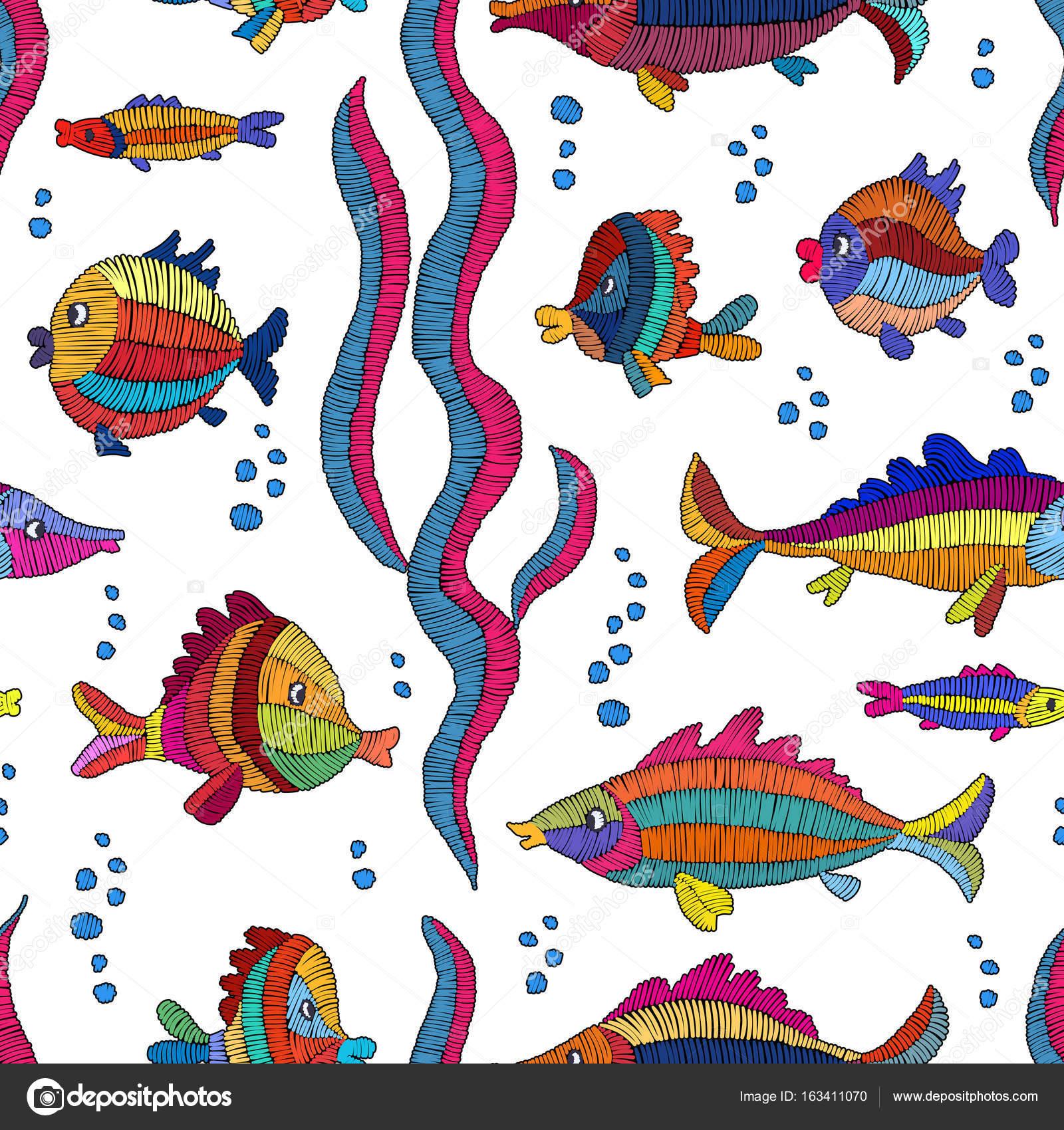 Animado: pescado para imprimir   Dibujos animados de pescado bordado ...