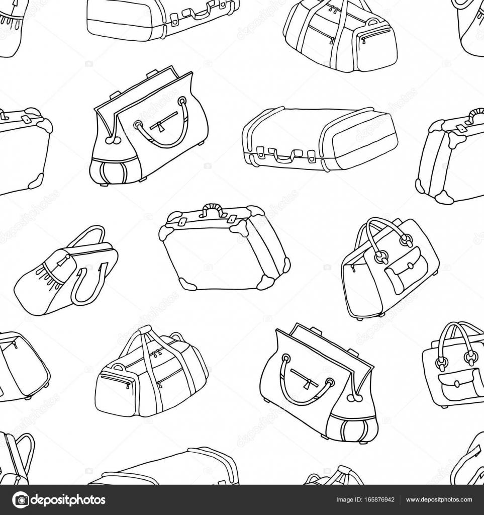 Maletas - de patrones sin fisuras. Conjunto de bolsas de viaje ...