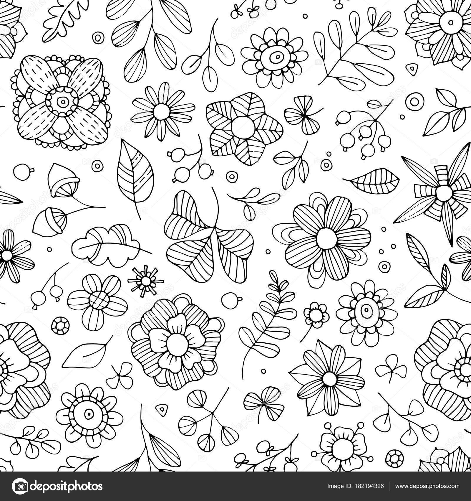 Estampado floral sin fisuras. Fantasía flores, hojas, plantas ...