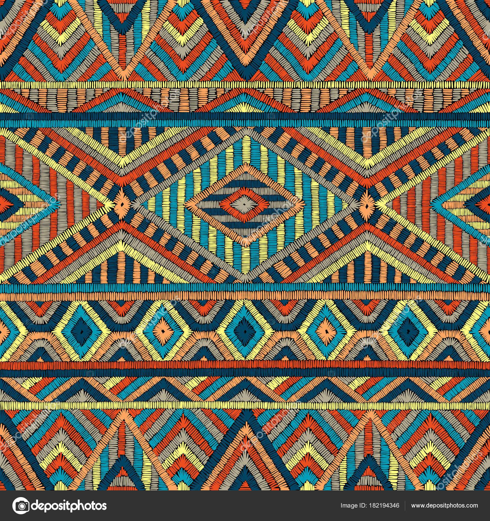 Gestickte Nahtlose Geometrische Muster Schmuck Für Den Teppich