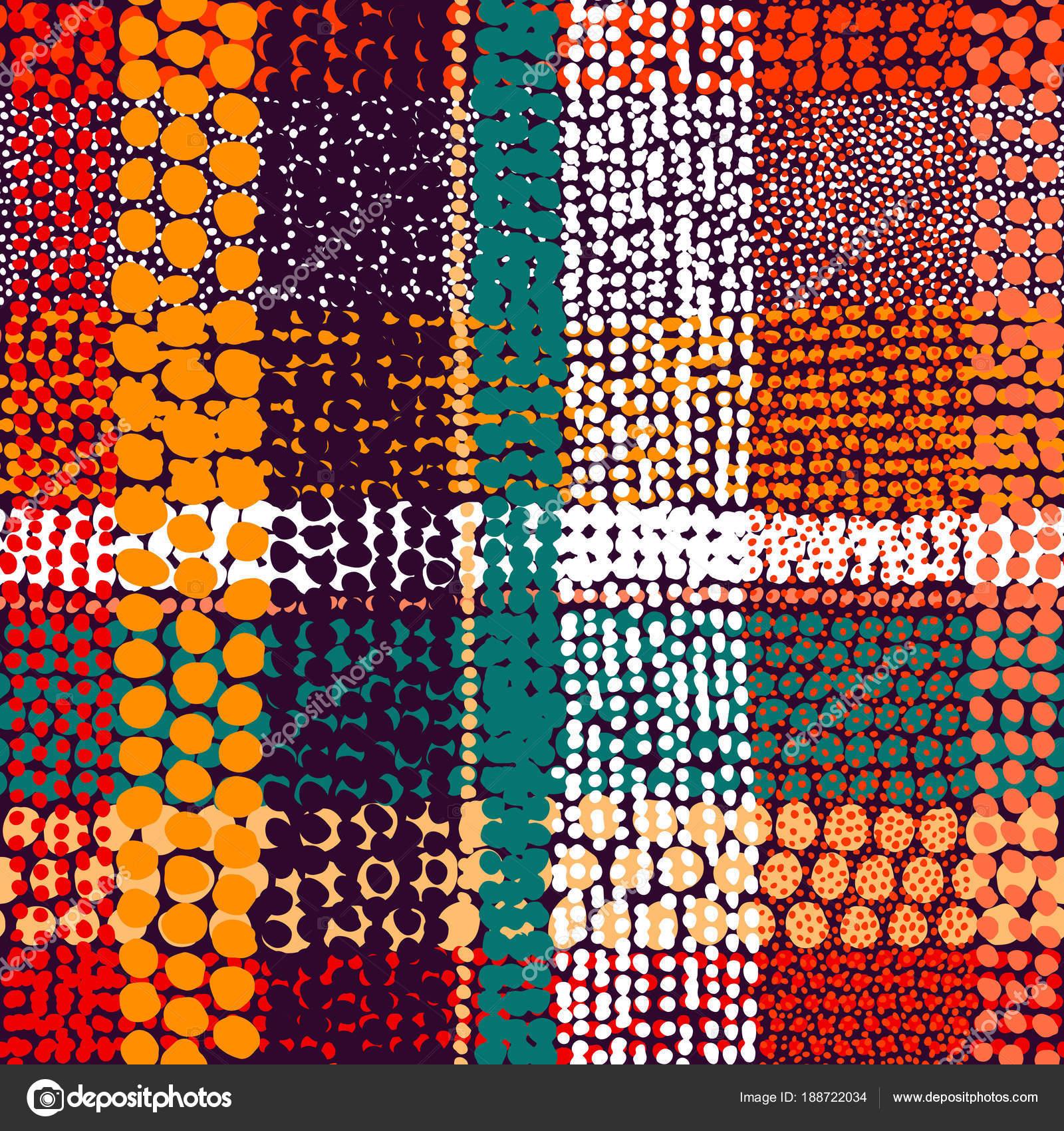 Nahtlose Patchwork-Muster. Weiß, Orange, blau, gelb, rot, pi ...