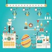 Fényképek Modern vektoros illusztráció, színes Boldog húsvéti gyár. Ind