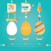 Fényképek Modern vektoros illusztráció gyár színes húsvéti ünnepeket. Ipari tojás